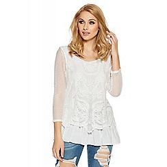 Quiz - White mesh long sleeved chiffon hem top