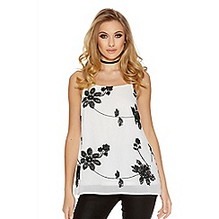 Quiz - White and black chiffon floral embroidered strappy swing top