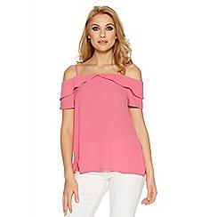 Quiz - Pink cold shoulder swing top
