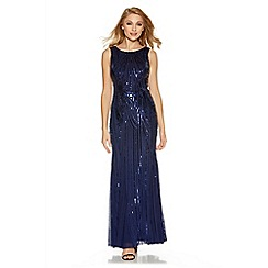 Quiz - Navy sequin high neck fishtail maxi dress