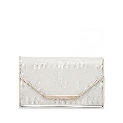 Quiz - Cream shimmer and pu box bag