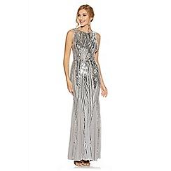 Quiz - Grey sequin high neck fishtail maxi dress