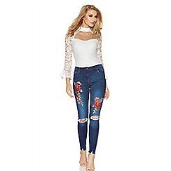 Quiz - Indigo blue and red denim rip knee jeans