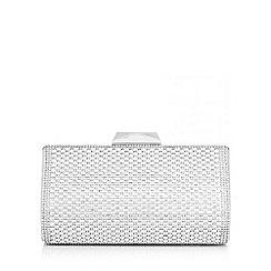 Quiz - Silver shimmer and diamante box clutch bag
