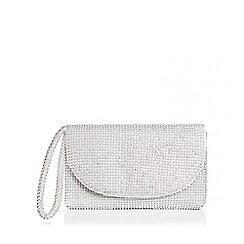 Quiz - Silver diamante small clutch bag