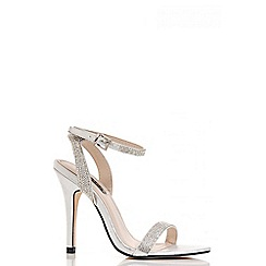 Quiz - Silver diamante barely there sandals