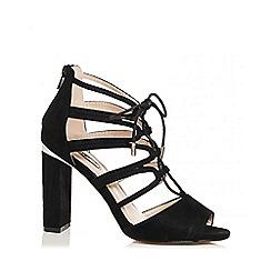 Quiz - Black faux suede lace up block heel sandals