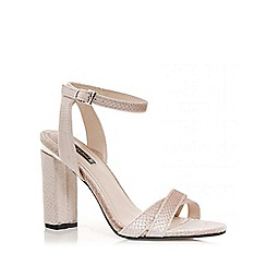 Quiz - Nude velvet block heels sandals