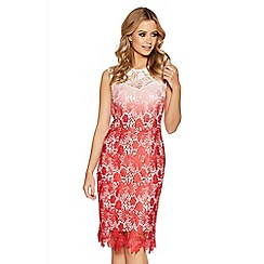 Quiz - Cream and coral crochet dip dye midi dress