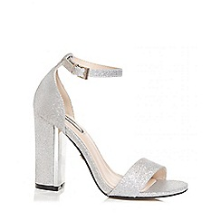 Quiz - Silver glitter block heel sandals