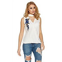 Quiz - Cream and blue choker neck embroidered top
