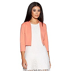 Quiz - Coral cropped 3/4 sleeve jacket