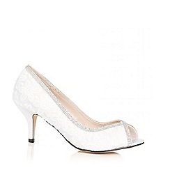 Quiz - White diamante lace peep toe court shoes
