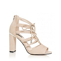 Quiz - Nude faux suede lace up block heel sandals