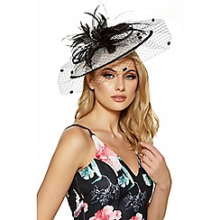 Quiz - Black and cream bow detail saucer fascinator