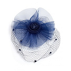 Quiz - Navy mesh polka dot fascinator