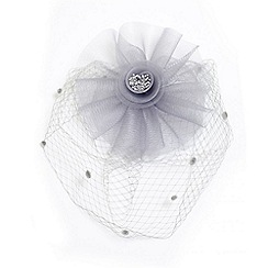 Quiz - Grey mesh polka dot fascinator