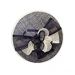 Quiz - Navy and cream bow detail saucer fascinator