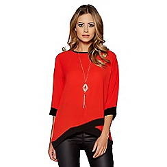 Quiz - Orange and black contrast 3/4 sleeves necklace top