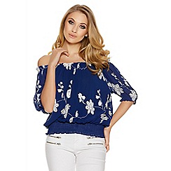 Quiz - Blue and white floral embroidered bardot top