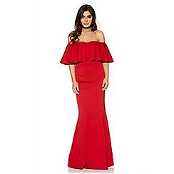 Quiz - Red bardot frill fishtail maxi dress