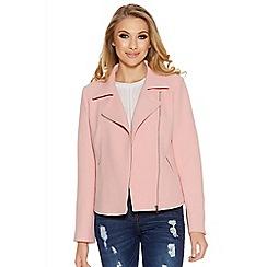 Quiz - Pink textured biker jacket