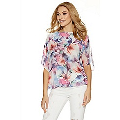 Quiz - Blue and pink floral print batwing sleeves bubble top