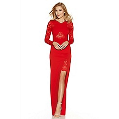 Quiz - Red lace detail crossover maxi dress