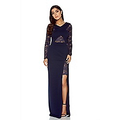 Quiz - Navy lace detail crossover maxi dress