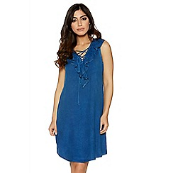 Quiz - Dark blue denim frill lace up dress