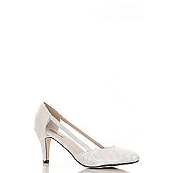 Quiz - White jacquard mesh detail court shoes