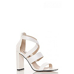 Quiz - White patent multi strap block heel sandals