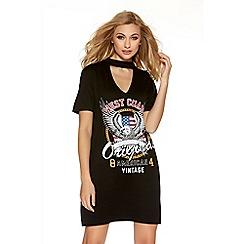 Quiz - Black choker neck rock print t-shirt dress