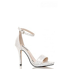 Quiz - White jacquard barely there sandals