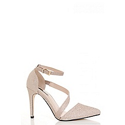 Quiz - Champagne glitter strap pointed toe courts