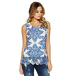 Quiz - White and blue crochet paisley print top