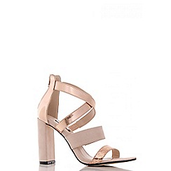 Quiz - Nude and rose gold multi strap block heel sandals