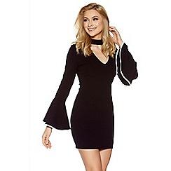 Quiz - Black and cream crepe choker frill dress
