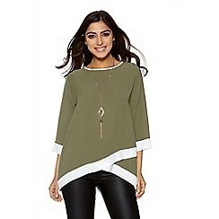Quiz - Khaki and cream contrast 3/4 sleeves necklace top