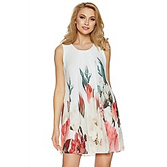 Quiz - Cream and coral floral print sleeveless tunic