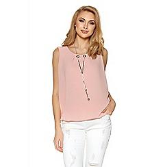 Quiz - Pale pink chiffon necklace bubble top