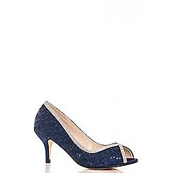 Quiz - Navy diamante lace peep toe court shoes