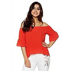Quiz - Orange frill sleeve bardot top