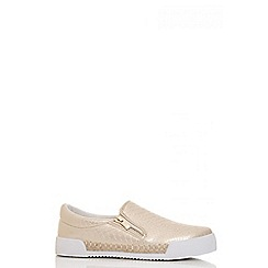 Quiz - Gold polyurethane and hessian metallic skater trainers