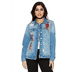 Quiz - Blue embroidered denim jacket