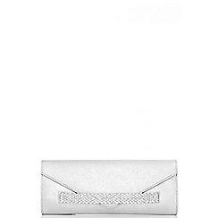 Quiz - Silver jewel band envelope clutch bag
