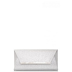 Quiz - Silver glitter envelope clutch bag