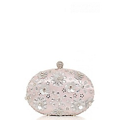 Quiz - Pink embellished oval clutch bag
