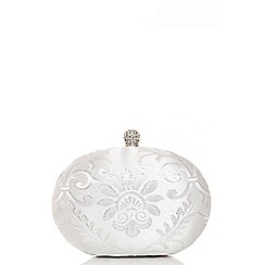 Quiz - White jacquard oval clutch bag