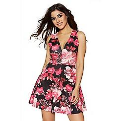 Quiz - Black and pink floral print skater dress